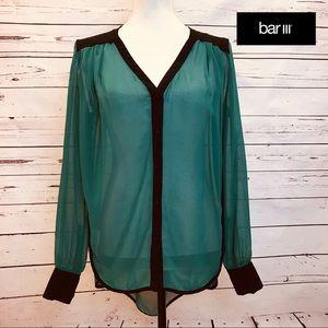 Bar III Sheer Low Back Green & Black Tunic